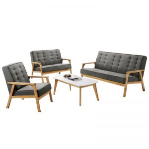 SOMERSET Solid Wood Sofa Set-Grey