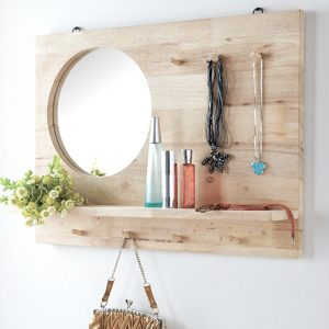 DAEGU full solid wood mirror with shelf