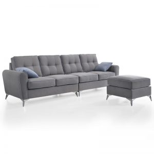 MIA L shaped 4 seater sofa in washable cover-Grey