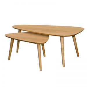 HAIDIA full solid wood nest of table set- natural