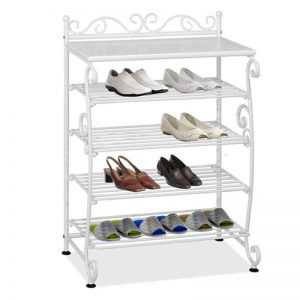 PALMA 4 tier wrought iron shoe rack-white