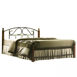 GHANA queen size metal bed with wooden post-Walnut