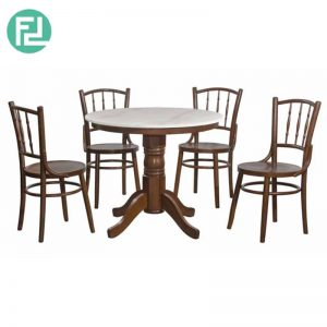 SHANGHAI 3ft real marble 4 seater dining set kopitiam set-walnut