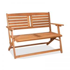 THEBES solid acacia 2 seater folding bench