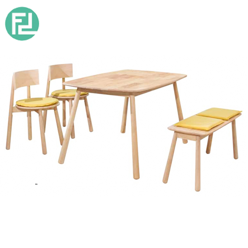Busan Full Solid Wood 4 Seaters Dining Set With Bench