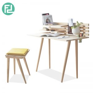 Busan Full Solid Wood Study Desk With Stool Natural