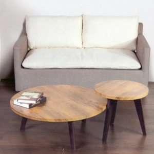 CAIRO coffee table with side table-teak grain