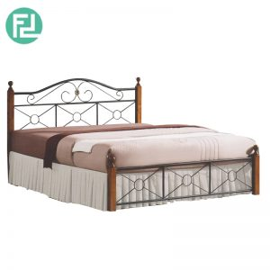 CORALE king size metal bed with wooden post-Walnut