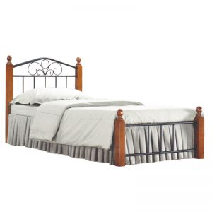 CORRAL single size metal bed with wooden post