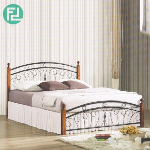 OKEN queen size metal bed with wooden post-Walnut