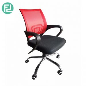 Furniture Direct breathable mesh office Chair with chrome leg - red