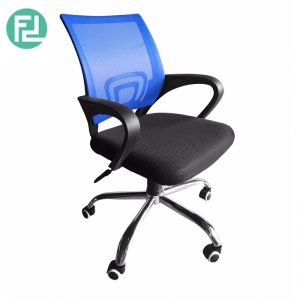 Furniture Direct breathable mesh office Chair with chrome leg - blue
