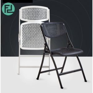 IRIS heavy duty metal folding chair- black/ white