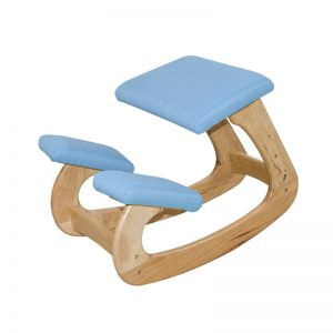 CLearance- Solid wood kids ergonomic kneeling stool-blue (last piece)