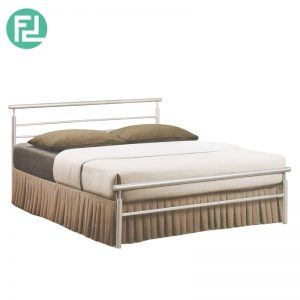MIKO queen size metal bed-silver