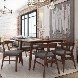 SHIBUYA 6 Seater solid wood dining set-walnut