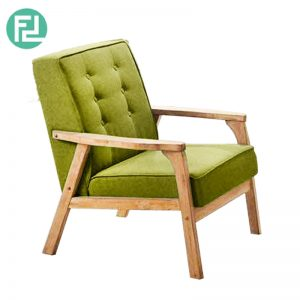 SOMERSET solid wood 1 seater cushion fabric sofa-green