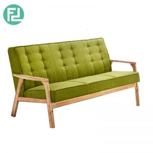 SOMERSET Solid Wood 3 Seater Fabric Sofa-Green