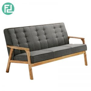 SOMERSET Solid Wood 3 Seater Fabric Sofa-Grey