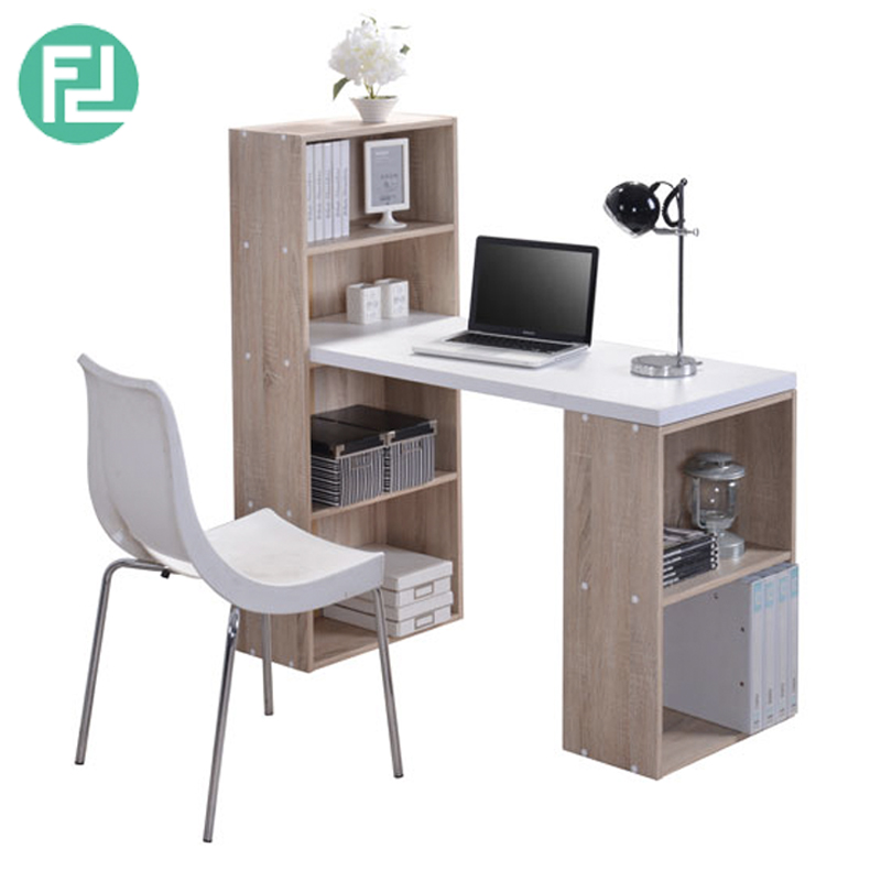 Visby Space Saver Study Desk With Bookcase Oak