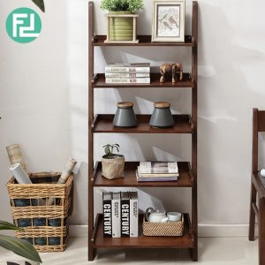 POLO full solid wood 5 tier wall rack-cappucino