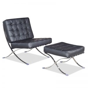 BARCELONA designer lounge chair with stool