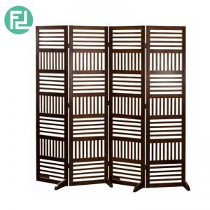 VICTORIA solid wood foldable screen divider-cappucino