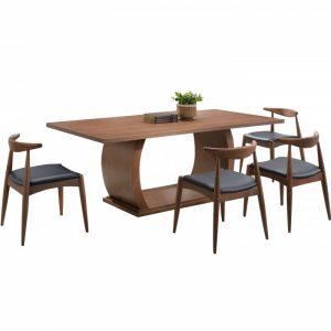 ARTHUR 6 seater solid wood dining set-walnut