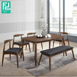 ALISHA solid wood 6 seater dining set with bench-walnut