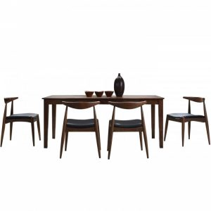 ALEXANDER 6 seater solid wood dining set-walnut
