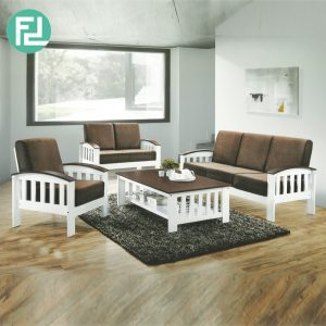 AMIN solid wood washable cover sofa set-cappucino
