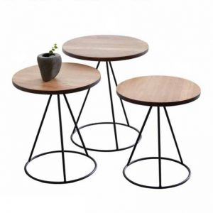 ARCATA solid wood round nest of table (set of 3)