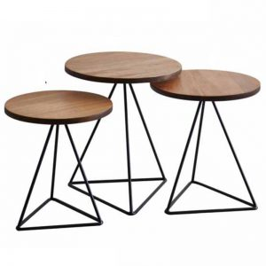 ARCATA solid wood triangle nest of table (set of 3)