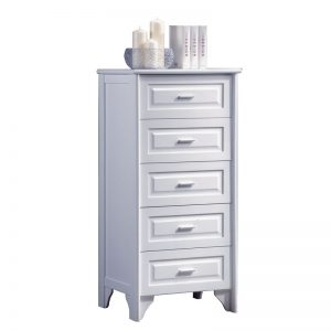 VIRGINIA solid wood 5 drawer tall boy chest-white