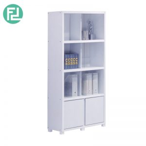 BS702004-WH glass doow bookcase cabinet-white