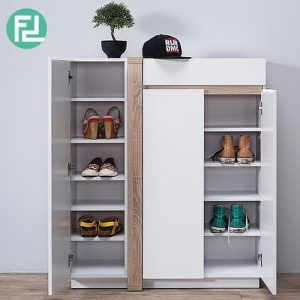DELLA 3 door shoe cabinet- oak/white