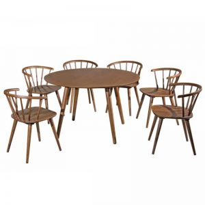 GUELMA full solid wood 6 seaters round dining set-walnut