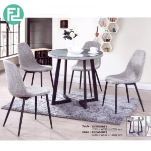 HALLIE Glasstop 4 seater dining set-grey