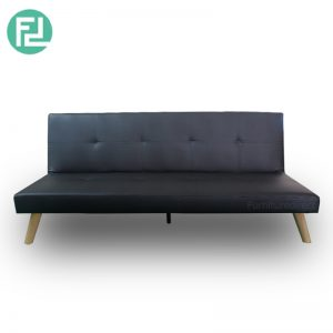JAMIE 3 seater PVC sofa bed-black