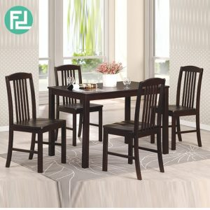 KONYA 4 seater solid wood dining set-cappucino