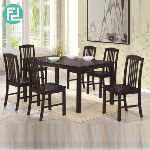 KONYA 6 seater solid wood dining set-cappucino