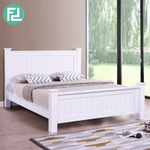 LERWICK solid wood painted queen size bedframe-white