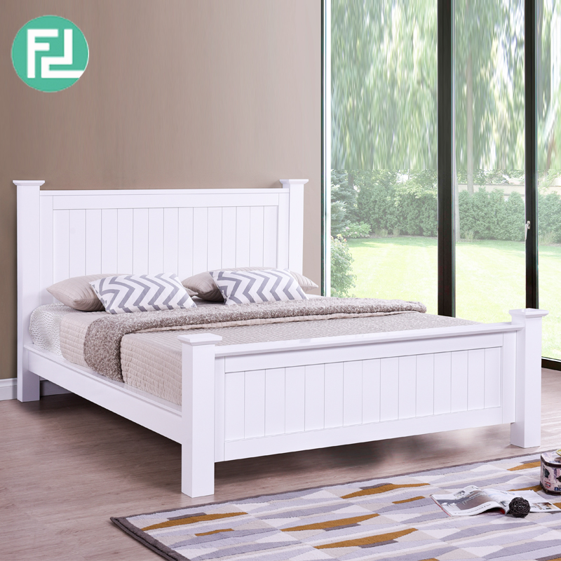 LERWICK solid wood painted queen size bedframe-white ...