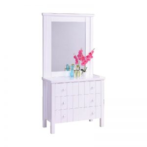 LERWICK solid wood painted dressing table with mirror-white