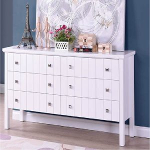 LERWICK solid wood painted 6 drawers chest-white