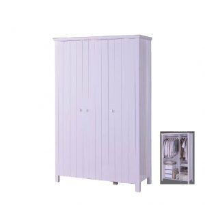 LERWICK solid wood painted 3 door wardrobe-white