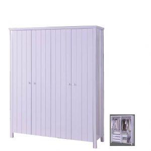 LERWICK solid wood painted 4 door wardrobe-white