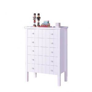 LERWICK solid wood painted 5 drawers chest-white
