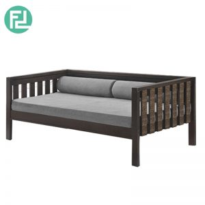 MAXI single size wooden daybed with mattress and bolsters -walnut