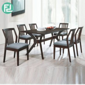 METRO 6 seater solid wood dining set-cappucino